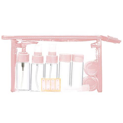 11 PCS Portable Rechargeable Transparent Vide Bouteilles De Voyage Ensemble pour Shampooing Liquide Maquillage Cosmétiques De Toilette Huiles Essentielles Crème Pour Les Yeux Rose