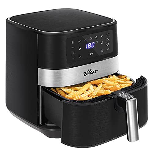 Bear Friggitrice ad aria calda, 5,5 l, XXL, friggitrice ad aria calda, con touch screen a LED, 1700 W, friggitrice ad aria calda