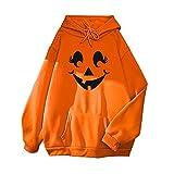 NHNKB Sudadera básica con capucha para mujer, diseño de calabaza de Halloween, moda para mujer, manga larga, sudadera con capucha para mujer, adolescente, otoño e invierno, color naranja