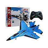 STOBOK Avion rc Avion de Chasse Jouet télécommande Avion intégré système d'équilibre gyroscopique Avion prêt à Voler pour Les Filles garçons Fournitures de fête (Bleu)