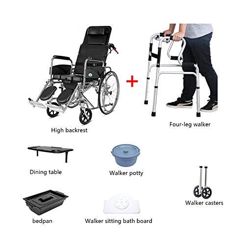HYL Rollstühle Rollstuhl, Rollstuhl Stahl, faltbar, haltbar, kann for ältere Menschen, Behinderte, Kleine Esstisch verwendet Werden (Size : #4)