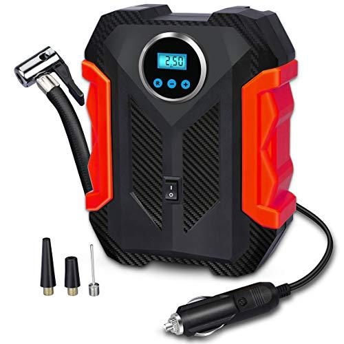 Portable Air Compressor für Autoreifen, Digital Tire Inflator, 12V DC Kompressor Reifen-Inflatoren, Luftreifen-Pumpe, mit NotLED-Taschenlampe für Autos, Motorräder, Fahrräder, Ballons