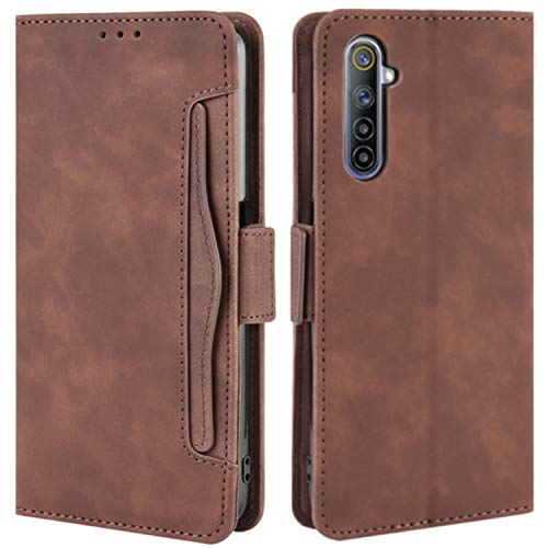 HualuBro Cover for Oppo Realme 6, Flip Book Cover in Premium PU Magnetic Leather Shockproof Case Wallet Case for Oppo Realme 6 Cover - Brown