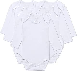 HONGLIN Baby's White Long Sleeve Bodysuits Set Infant Boys Girls Unisex 5pcs Cotton