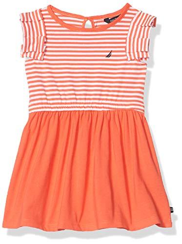 Nautica Girls' Short Sleeve Striped Fashion Dress Vestidos de Tiempo Libre, Estor Plisado, diseño a Rayas, Color Coral, 2 años para Niñas