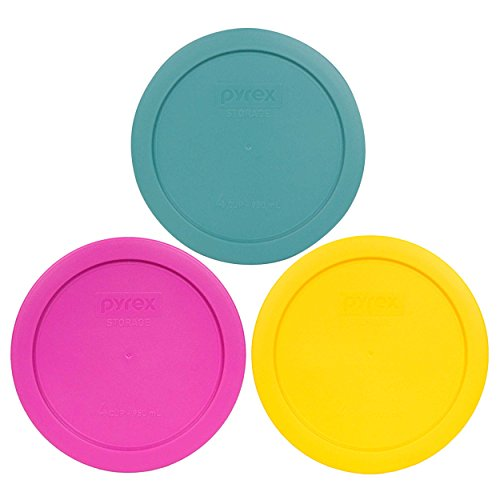 Pyrex 7201-PC 4 Cup (1) Turquoise (1) Pink (1) Meyer Yellow Round Plastic Lids...