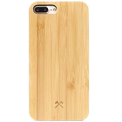 Woodcessories – Carcasa, Funda Compatible con iPhone 7 Plus / 8 Plus, de Madera Real, EcoCase Classic (Bambú/Negro)