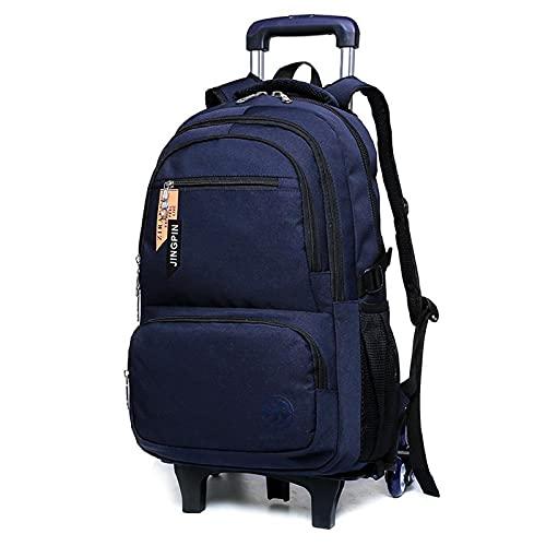 Night K Mochila para niños con ruedas, mochila grande de almacenamiento, mochila de nailon impermeable, paquete para niños de 6 a 12 años A-33 x 17 x 50 cm