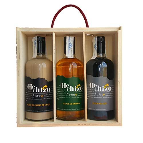 Caja Madera 3 Botellas Licores El Hechizo by Latarce. Incluye: Elixir de Crema de Orujo,Hierbas y Café