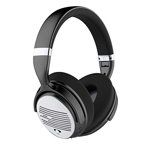 Smpl Auriculares Inalámbricos con Cancelación de Ruido - Cascos Bluetooth con micrófono, 16h de batería, para trabajo/viajes/ordenador/teléfono/TV - Plateado, Talla única