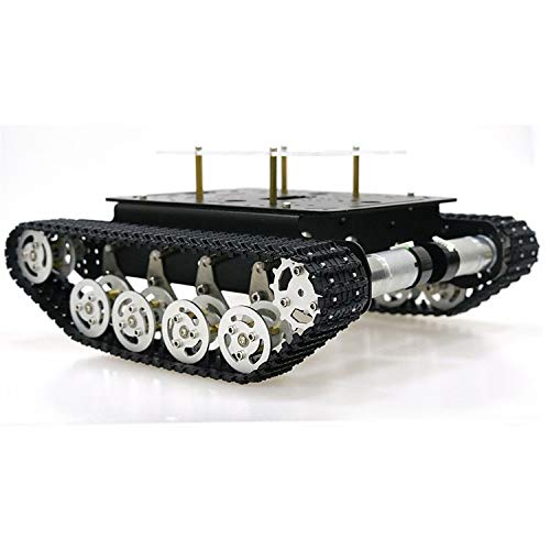 SZDoit Professional Tank Car Chassis Kit TS100 for Arduino / Raspberry Pi, Smart Shock Absorption Robot DIY STEAM Education Track Platform, Tracked Vehicle