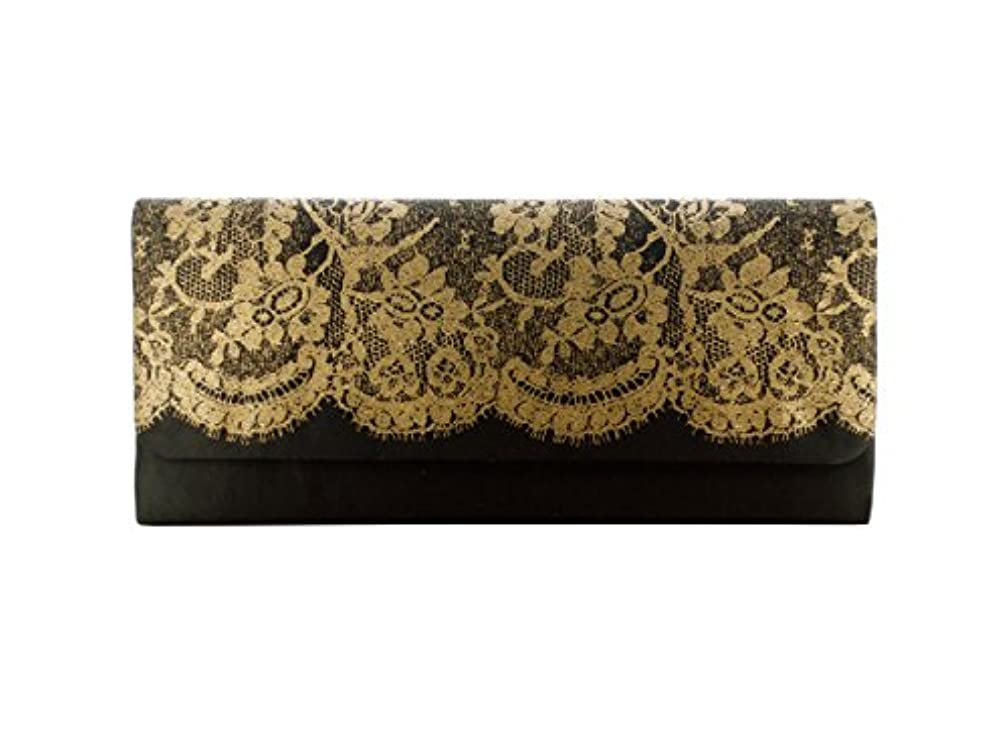 bulk buys BH324 Ladies Clutch Bag with Lace Print, Black/Gold