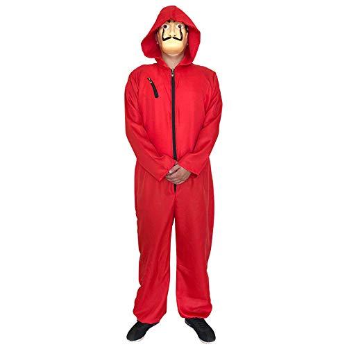 Greetuny Combinaison unisexe rouge La casa de Papel Salvador Dali et masque Dali Halloween Adulte Costume de bière - Rouge - XL