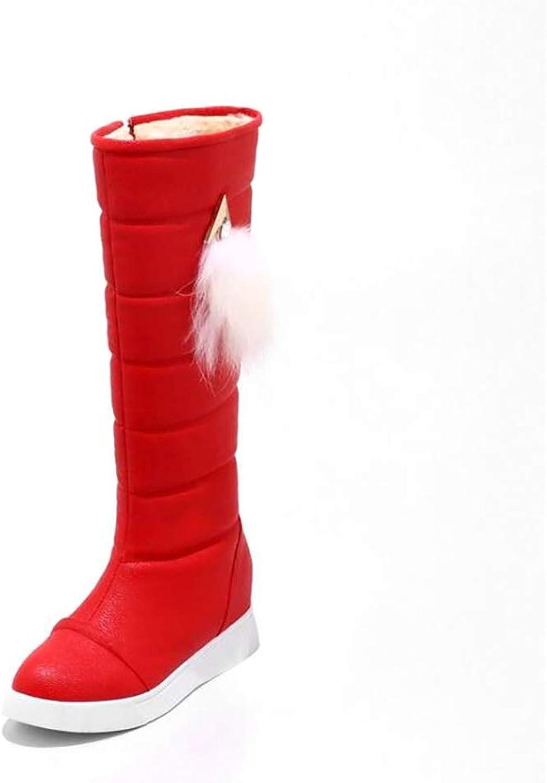 Hy 2018 Neue Frauen Stiefel Künstliche PU Plus Dicke Schneeschuhe Stiefel Damen Flache Stiefel Student Warm Casual Hohe Stiefel Outdoor Sports Stiefel (Farbe   Rot, Größe   38)    Sofortige Lieferung