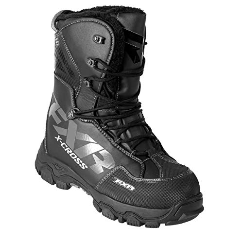 FXR X Cross Lace Winter Snowmobile Boot Insulated 600g -40C Fixed Fur Liner - Black Ops - Mens 8 / Womens 10