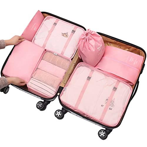 Ketamyy 7 unidades organizadores de viaje cubos de embalaje conjunto organizadores bolsas de embalaje bolsa de compresión bolsas de almacenamiento para ropa maleta zapatos camping rosa