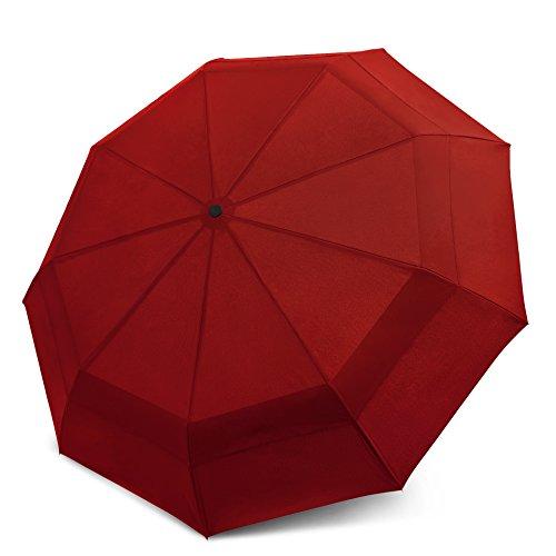 Windproof Travel Umbrella - Compact, Double Vented Folding Umbrella w/Automatic Open & Close Button - Portable, Lightweight Outdoor & Golf Rain Umbrellas w/UV Protection, Burgundy