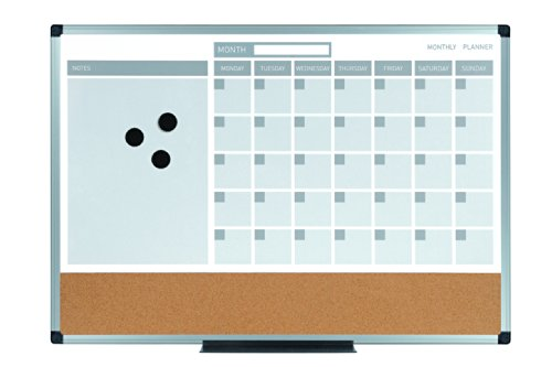 MasterVision MB3507186 3-In-1 Calendar Dry Erase Planning Board, 18 x 24 Inches, Aluminum Frame
