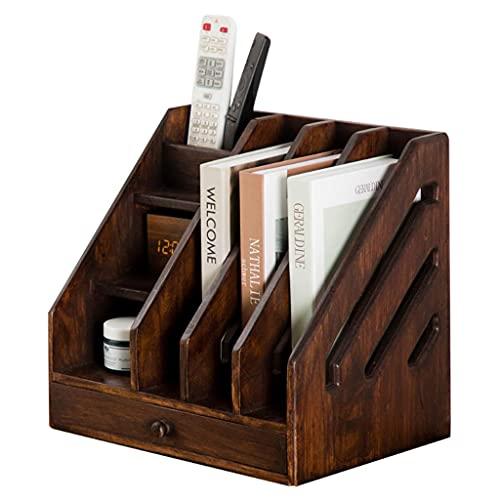 HyiFMY Wood Desktop Bookshelf encimera librería Suministros de Oficina Suministros de Almacenamiento Rack de Madera Escritorio Organizador Accesorios de Estilo Libre Estilo de exhibición Decoración