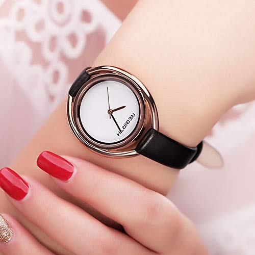PingGongHuaKeJiYouXianGongSi - Reloj de cuarzo para mujer, diseño minimalista, doble carcasa clásico con correa de piel impermeable