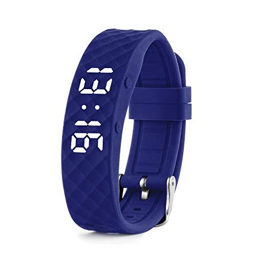 Vibrationsalarm Erinnerung Uhr (Anleitung auf Deutsch) – bis zu 10 persönliche Alarme oder Pillenerinnerungen pro Tag (Large, Blue)