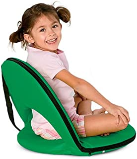 Light Green 5-Position Folding Chair with Adjustable Strap for Kids and Adults Comfortable Seat for Ground and Floor 20''L x 9.5''H