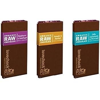 LOVECHOCK Tafeln Set 3x 70g Blaubeere & Hanfsaat, Kakaonibs & Meersalz, Mandeln & Baobab (roh bio vegan) Rohschokolade 3er-Set