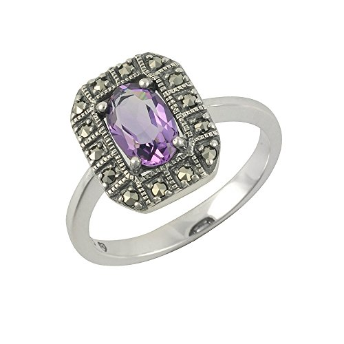 Esse Marcasite Bilderrahmen Sterling-Silber 925 Amethyst Markasit Ring, violett, M
