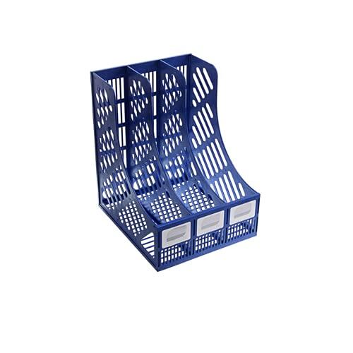 PLASTIFIC Archivo de escritorio Revista de 3 secciones de plástico hueco Documentos Organizador Archivo Gabinete Marcos Divisores Estante Exhibición y almacenamiento Portabosques de plástico (azul)