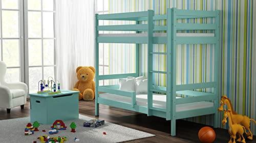 Children's Beds Home - Litera de madera maciza - Theo para niños niños pequeños - Tamaño 200 x 90, color turquesa, cajón ninguno, colchón ninguno