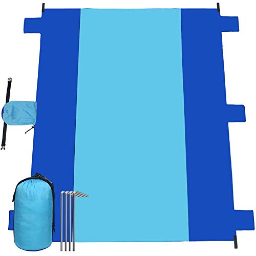 Esup Beach Blanket Sand Proof Oversized Waterproof 10'x 9' Beach Mat for 7 Adults, Lightweight Durable 210T Ripstop Nylon, Best Picnics Blanket Mat for Travel Sports Camping (Sky Blue/Blue)