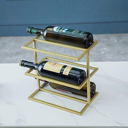 FYLHX Moderno Arte De Hierro Botellero Independiente Encimera Estante De Vino 5-6 Botella Decoración del Hogar Botellero Cocina Bar Comidas Salón-C 27x17x26.5cm (11x7x10inch)