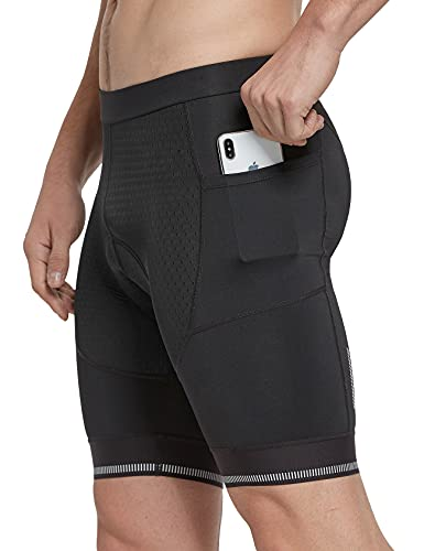 FitsT4 - Pantalones cortos de ciclismo para hombre, 4D, de secado rápido, con diseño antideslizante, Negro, 46
