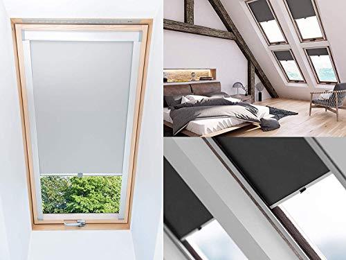 KSHANDEL24 Dachfensterrollo Thermo verdunkelnd für Velux Fakro Fenster Dachrollo - 15 Größen - 6 Farben, ALU Satin Schiene, große Auswahl (Fakro dunkelgrau, 78/118)