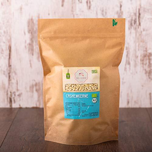 süssundclever.de® | Bio Cashewkerne, ganz | 1 kg | 100% naturbelassen | plastikfrei und...