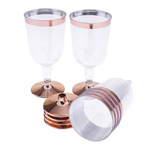 Conjunto de 6 Piezas Copas de Vino Tinto de Plástico Desechables Oro...