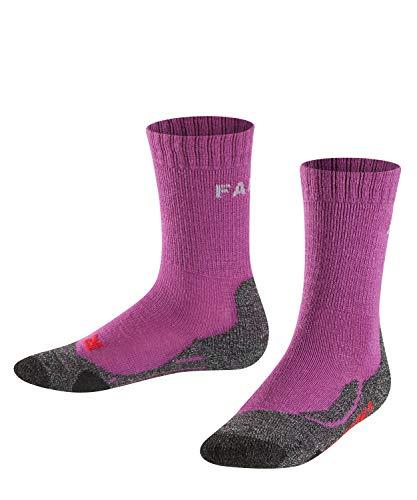 FALKE Kinder TK2 Trekking Socken, wadenlange Wandersocken mit Merinowolle für Mädchen und Jungen, 1 er Pack, Rosa (Wildberry 8895), 31-34 (7-9 Jahre)