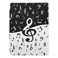 RECASO 白黒スタイリッシュなト音記号 波 iPad 7 ケース 第7世代 PUレザー 2019 10.2インチ 透明 TPU 耐衝撃 背面保護ケース apple アイパッド カバー