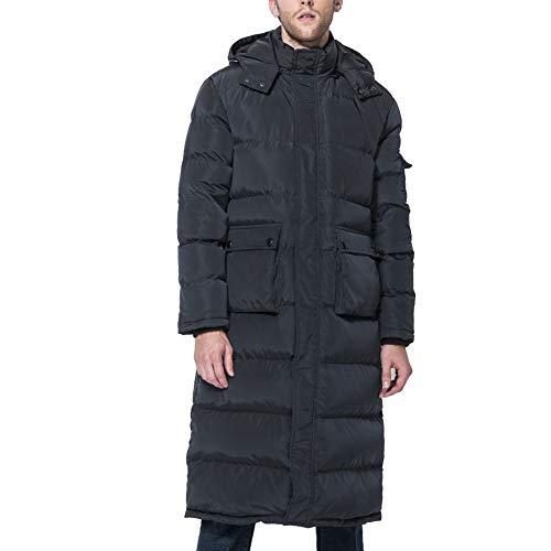 Tapasimme Herren Winter Warm Daunenmantel Männer Verpackt Daunenpuffer Jacke Lange Mantel mit Kapuze komprimierbar (Schwarz, Small)