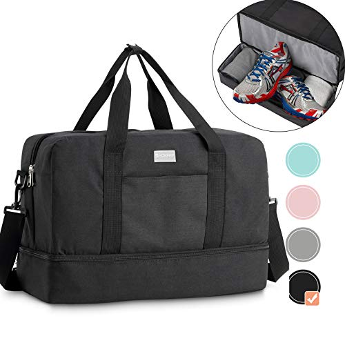 HOKEMP Gym Bag For Women Men Sport Duffel Bag with Shoes Compartment, Swim Bag Travel Tote Luggage Shoulder Bag(Black, XL)