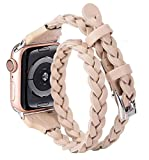Moolia Double Leather Band Compatible with Apple Watch 38mm 40mm, Women Girls Woven Slim Leather Watch Strap Double Tour Bracelet Replacement for iWatch SE Series 6 5 4 3 2 1 (Beige, 38mm/40mm)