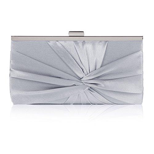Damara Damen Adlige Schicke Satin Plissee Abend Handtasche,Grau