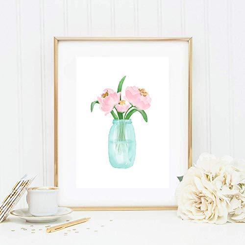 Din A4 Kunstdruck ungerahmt Vase mit Blumen Blumenstrauß Rosen Pfingstrosen Aquarell Rosa Türkis Druck Poster Bild