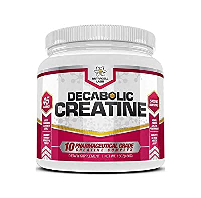 Nutracell Labs Decabolic Creatine : Powerful 10 Blend (45 Servings - 5000mg Per Serving) Muscle Growth & Strength Without Steroids / HGH (225g / 8oz)
