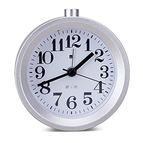 Houten wekker, Calar Bedside Wekker handgemaakte ronde Small Classic Silent Snooze Clock Wood Digital Tafel Klok met Night Light for Kitchen Slaapkamer Kantoor,F,9.5cm