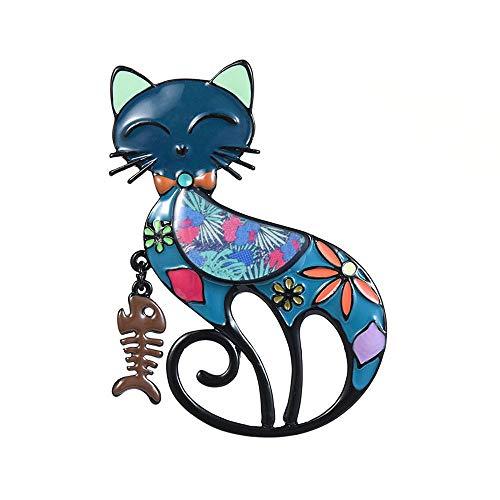 Sieraad blauw nagellak bonte kat sjaal dier Lisca visnaald metaal voor dames
