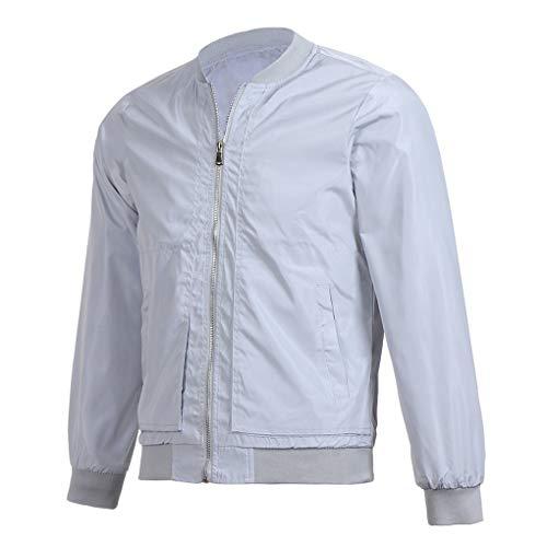 Skxinn Herren Jacke Übergangsjacke Kunstleder Stehkragen Parka Jacke WindbreakerMantel Jacket Coat Gr M-6XL(Z05-Grau,Medium)