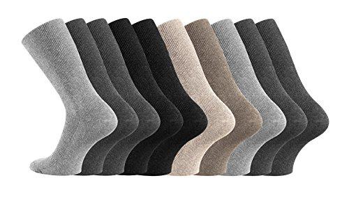 ORIGINAL WOWERAT 10 Paar Gesundheitssocken ohne Gummi die nicht rutschen 39-42,Farbig sortiert