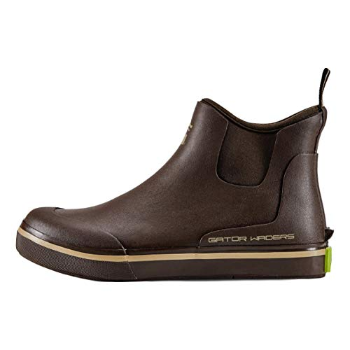Gator Waders Mens Camp Boots, Brown, Size 11 - Ankle High Waterproof Shoes for Rain and Mud, Fishing, Hunting, and Camp Wear