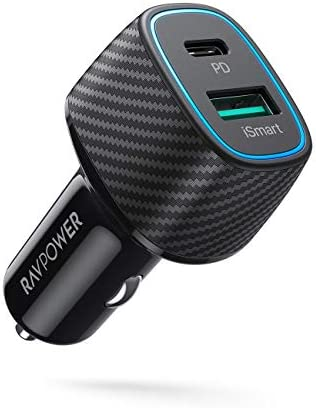 USB C Car Charger RAVPower 48W 2 Port Type C Car Adapter with 30W Power Delivery 18W Qc 3 0 product image